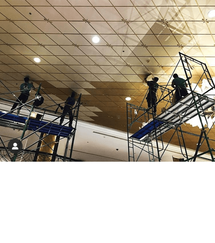Installation of Di-Noc technology on ceilings