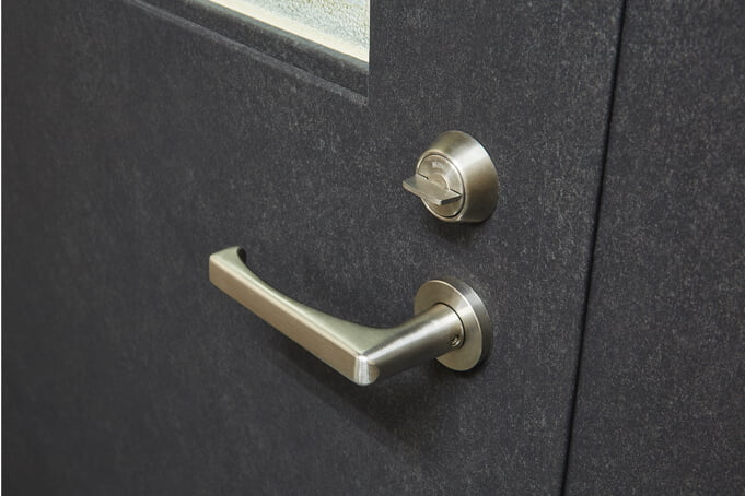 Door coverings with a textured grey finish