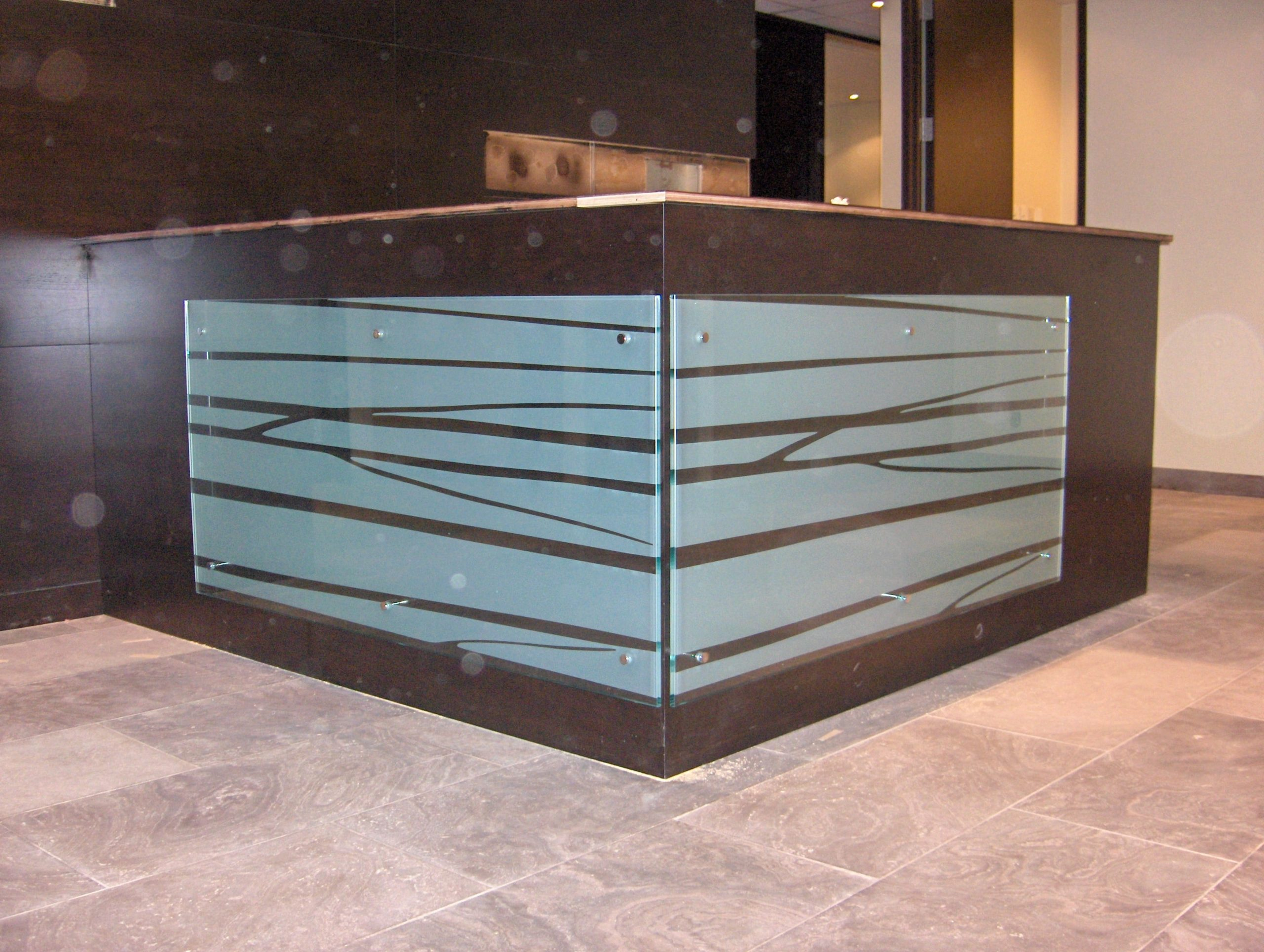 Reception desk with architectural film